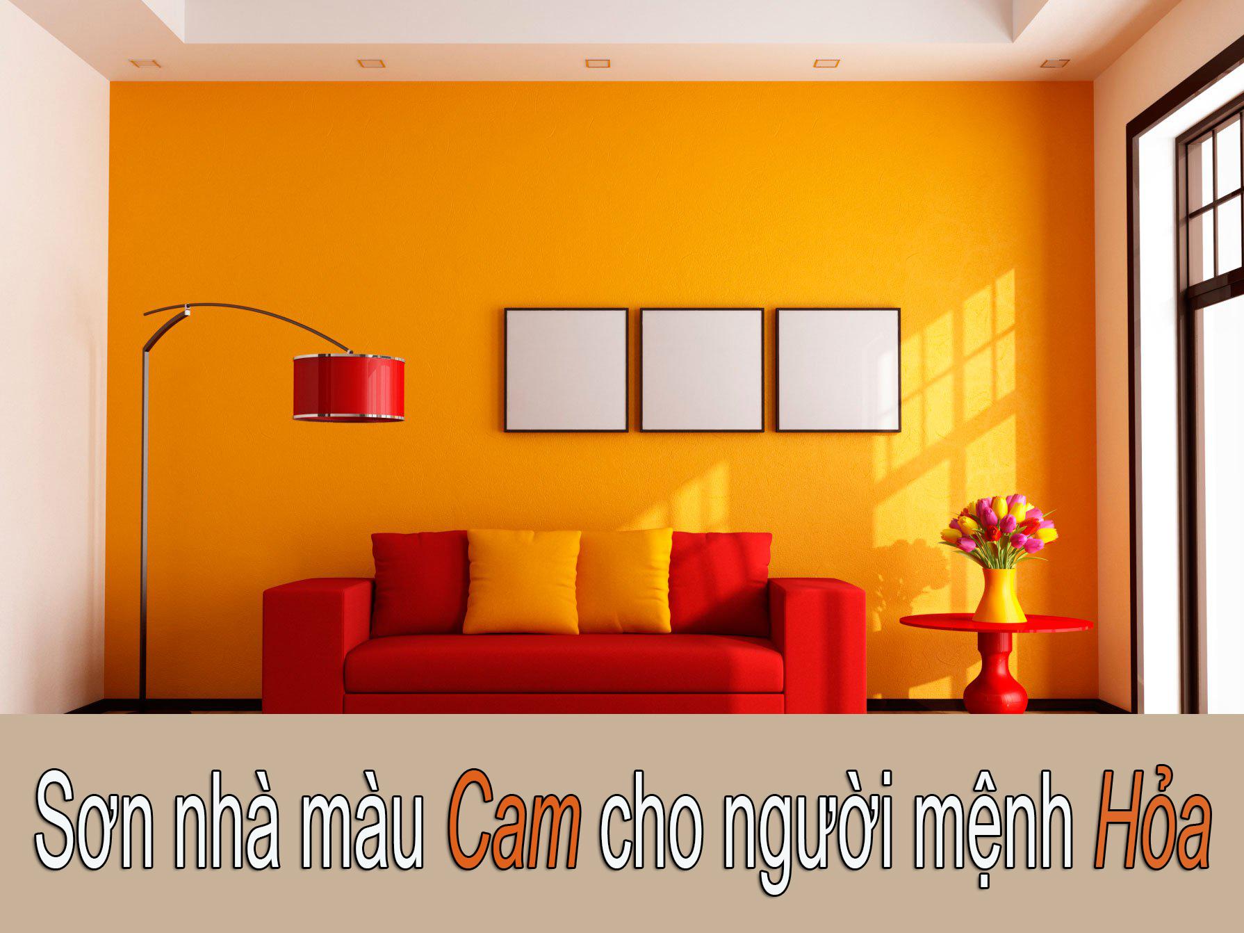 Sơn nhà màu cam cho người mệnh hỏa