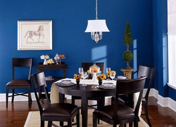 phòng ăn xanh dương