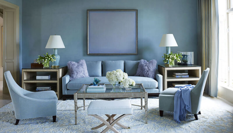 Phòng khách màu xanh ghi