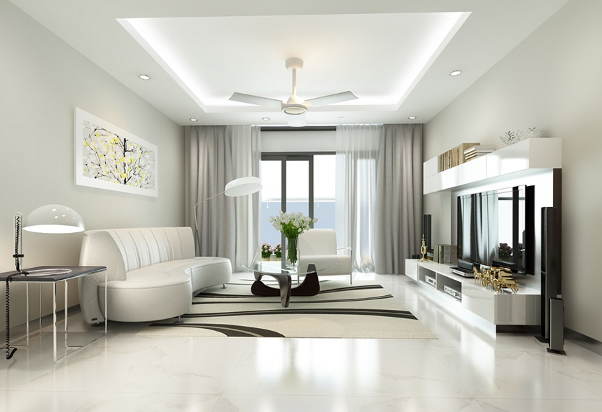 Phòng khách màu trắng bạc