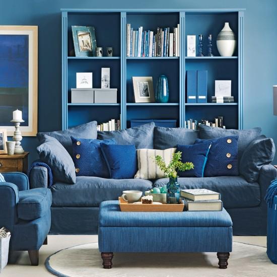 phòng khách xanh dương
