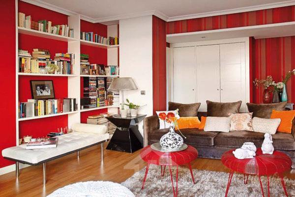 sơn nhà màu đỏ và trắng