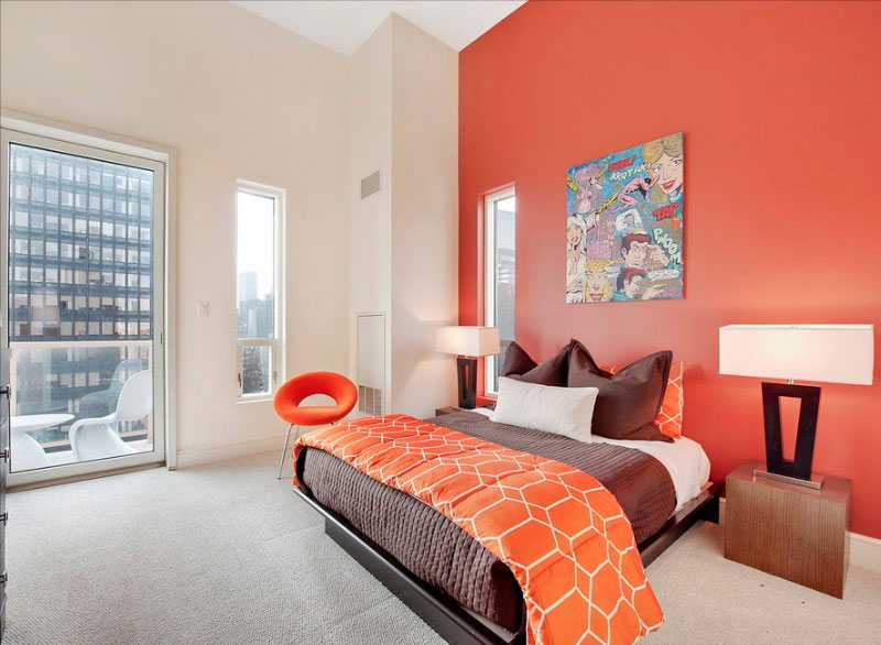 Phòng ngủ màu cam