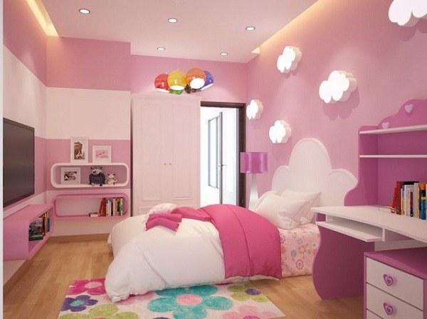 Phòng ngủ cho bé gái thường thiên về gam màu hồng dễ thương