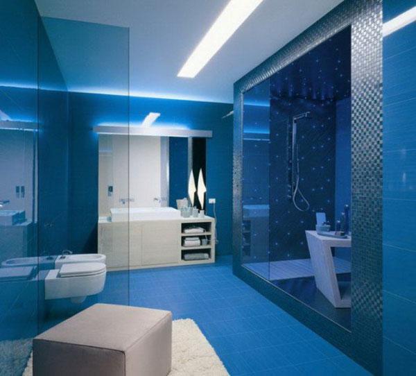 phòng tắm xanh dương
