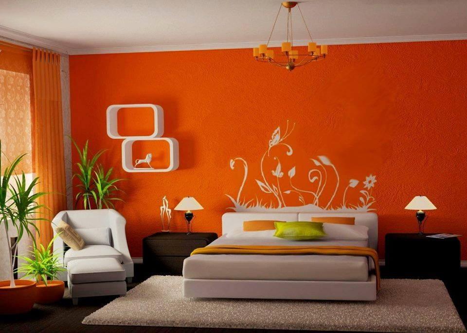 sơn tường nhà đỏ cam