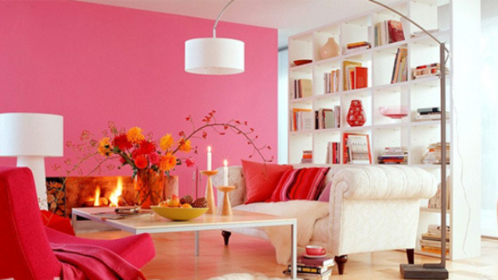 sơn tường nhà đỏ hồng