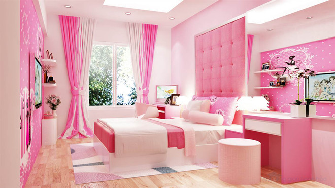 sơn nhà màu hồng tạo cảm giác hứng thú