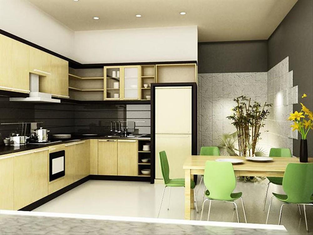 Gam màu nâu đen kết hợp ăn ý với màu vàng be của gỗ tạo nên tổng thể ấn tượng