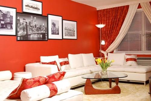 sơn tường nhà đỏ tươi