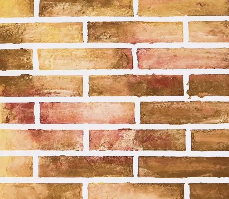 Sự kết hợp của tường giả gạch và hiệu ứng Ombre