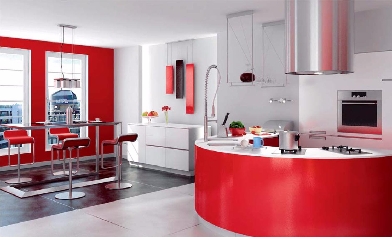 phòng bếp màu đỏ và trắng