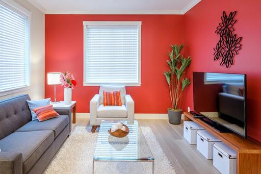 Phòng khách màu đỏ và trắng 2
