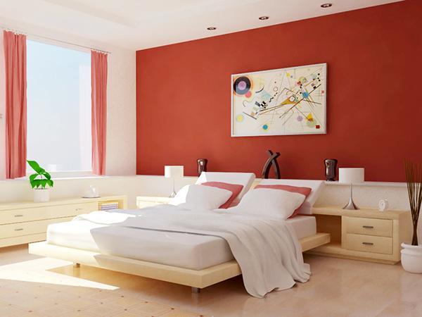 Phòng ngủ màu đỏ và trắng 4