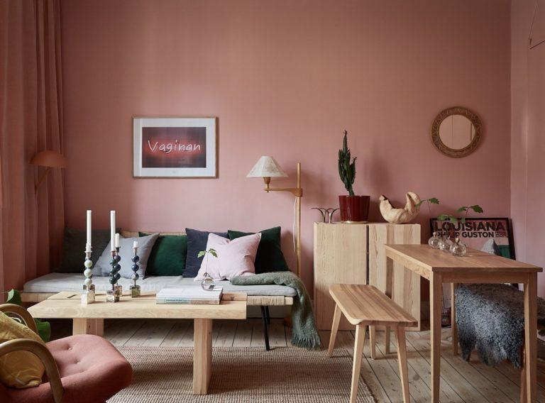 Sơn tường màu hồng 4