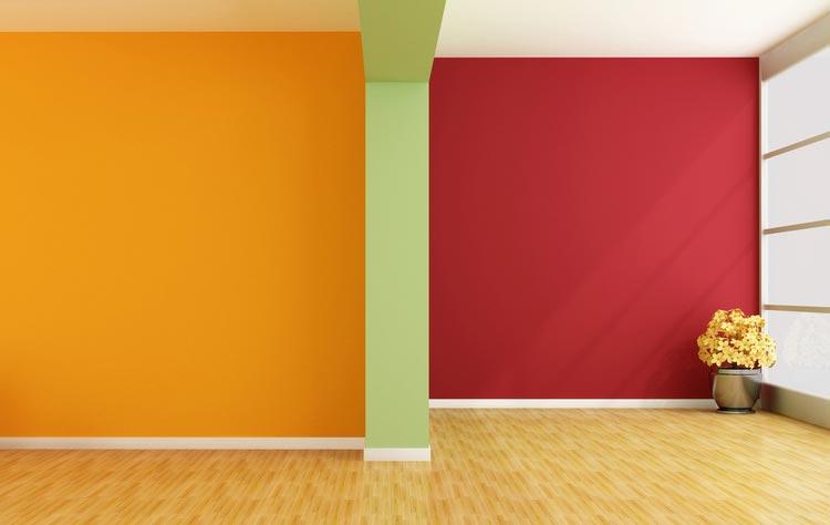 Sư kết hợp của sơn tường màu đỏ và màu cam