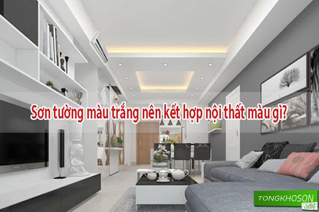 Tường trắng nên kết hợp nội thất màu gì