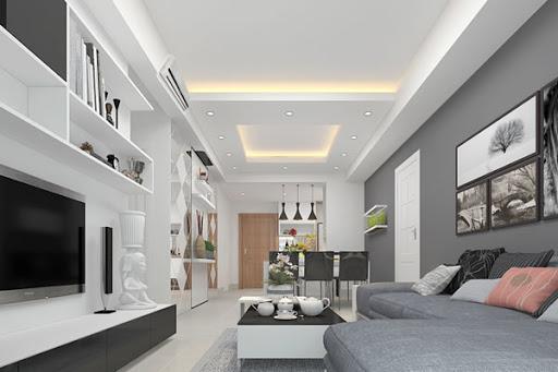 nhà màu trắng kết hợp nội thất xám