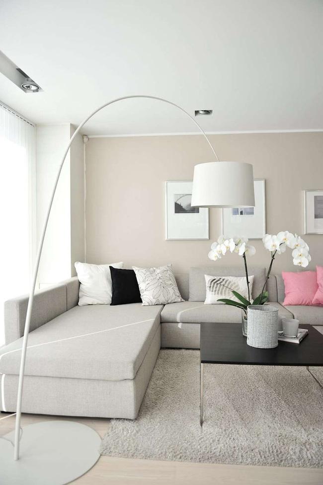 Sơn nhà màu kem với nội thất màu be