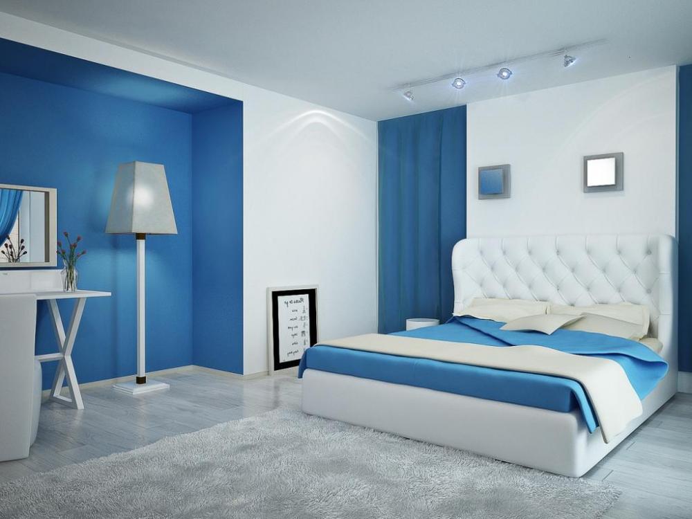 Phối sơn nhà màu trắng với màu xanh dương