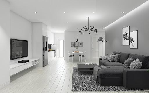 Sơn màu trắng xám cho phòng khách