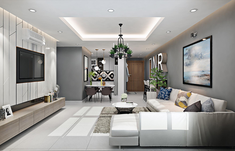 Phòng khách chung cư nên sơn màu gì