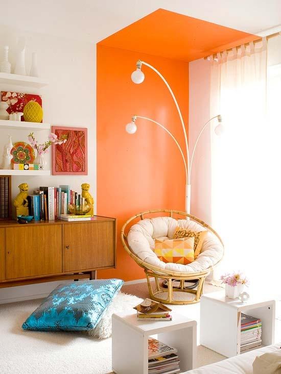 Trang trí nhà với màu cam sáng