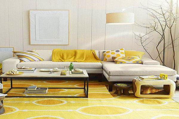 Thiết kế phòng khách với màu vàng - phụ kiện