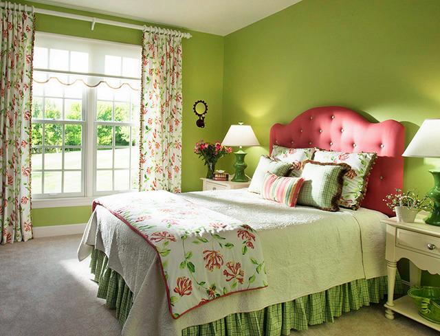 Thiết kế phòng ngủ dịu mát với gam màu xanh lá